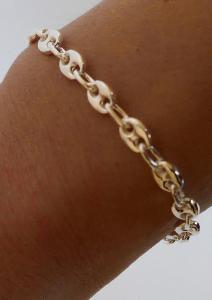 BRACELET ARGENT MARINE GRAIN DE CAFE 6mm