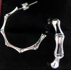 CREOLES ARGENT  BAMBOU 4mm