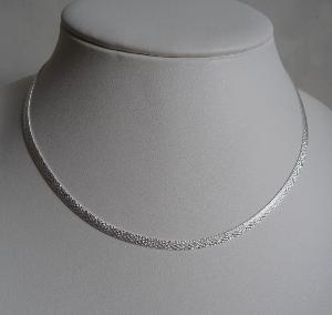 COLLIER ARGENT CHAINE PLATE DIAMANTEE