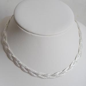 COLLIER ARGENT TRESSE DIAMANTE